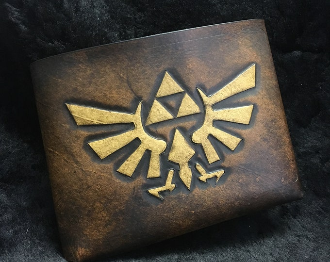 Featured listing image: Leather Zelda Triforce Hyrule Wallet - Brown leather gamer wallet