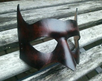 Brown leather Batman Mask