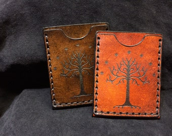 Leather Lord of the rings card case White Tree of Gondor