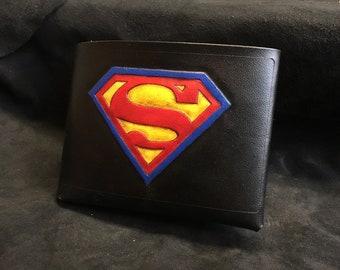 Leather Superman Wallet in black