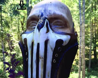 Leather Punisher skull mask PDF Template  - Digital Leather half mask Pattern
