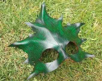 green Leather Maple Leaf Mask