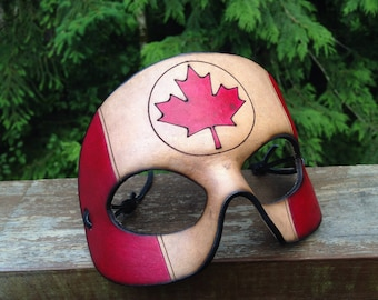 Captain Canada leather mask Canadian handmade half mask Capt canuck
