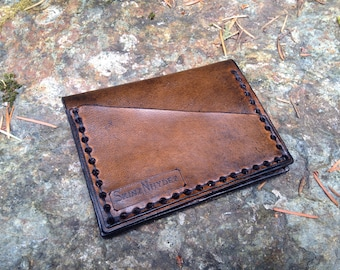 Leather card case wallet with license slot