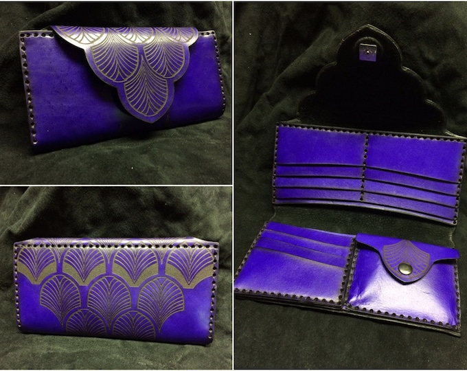 Featured listing image: Leather Ladies Wallet Art Deco designed women's purse