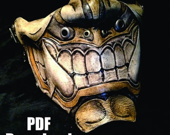 Leather Oni Kabuki mask PDF Template  - Digital Leather Pattern