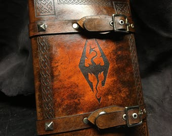 Leather Skyrim  journal - day planner - book cover
