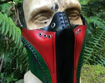 Leather Boba fett biker airsoft half mask