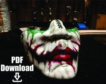 Leather Joker mask PDF Template  - Digital Leather Pattern