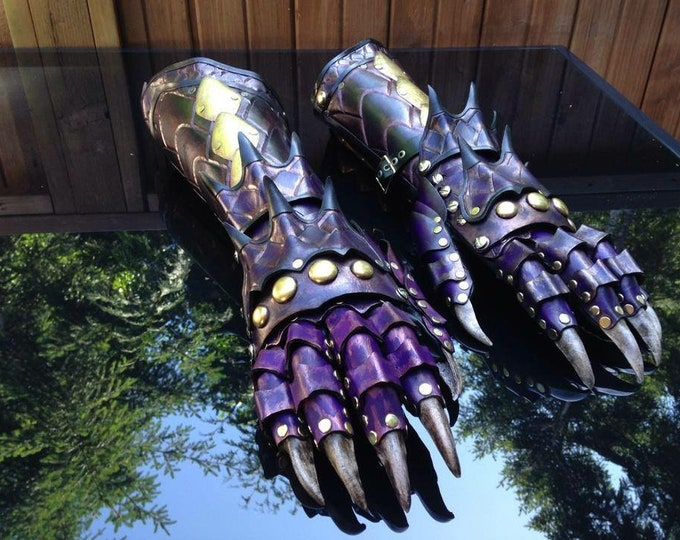 Featured listing image: Dragon gauntlets made with leather and brass
