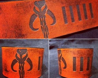 Leather Mythosaur bobafett cuff bracelet