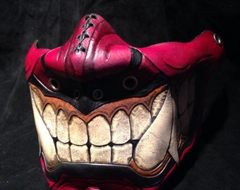 Red Leather Oni kabuki half mask