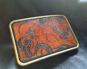 Leather octopus Cthulhu belt buckle