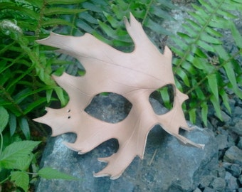 Unfinished Leather oak Leaf Mask