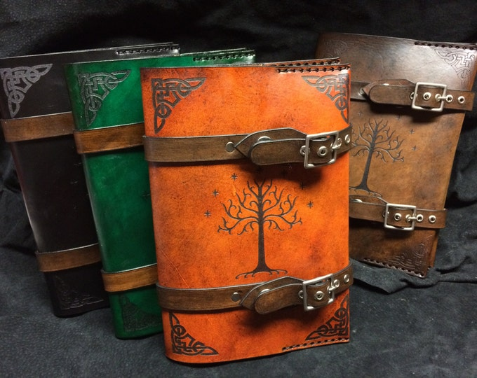 Featured listing image: Leather Lord of The rings Tree of Gondor journal - day planner - book cover