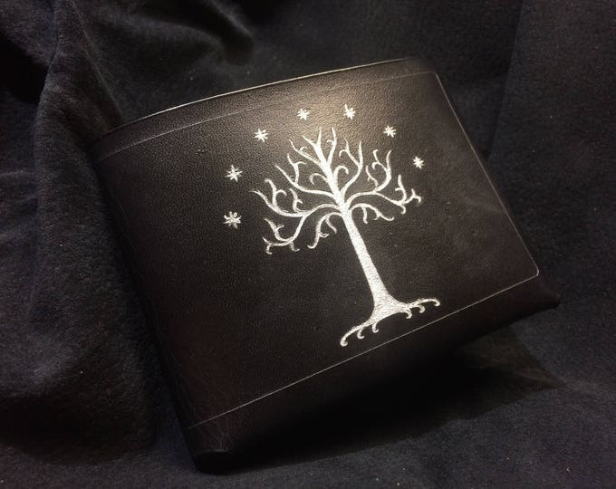 Featured listing image: Black Leather Lord of the rings wallet White Tree of Gondor