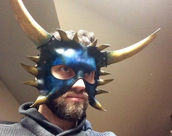 Blue Leather demon horned mask