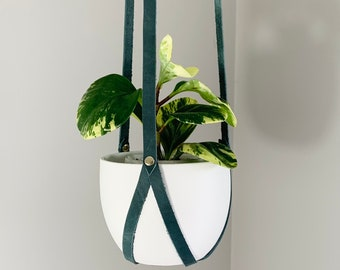 Leather Plant Hanger, Minimalist Hanging Planter, Indoor Plant Accessories, Dark Teal Planter, Mother's Day Gift