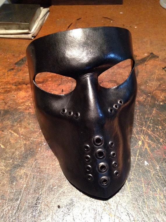 masque en cuir noir motard masque visage bouclier par. Black Bedroom Furniture Sets. Home Design Ideas