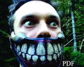 Leather Twisty the clown mask PDF Template  - Digital Leather half mask Pattern