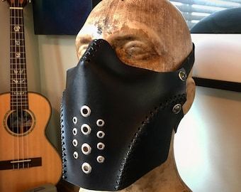 Leather mask. Biker mask face shield by skinznhydez steampunk armoury