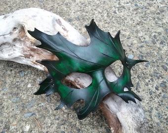 green Leather oak Leaf Mask