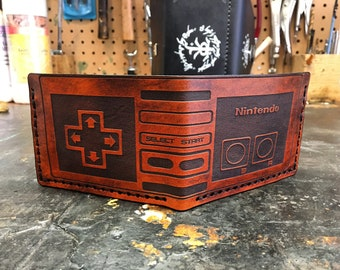 Leather Retro game wallet NES controller