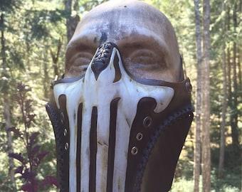Leather Punisher biker airsoft half mask