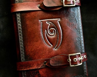 Leather Skyrim tome journal - day planner - book cover