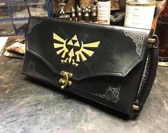 Black Nintendo Switch Case -  Leather Zelda themed Nintendo Switch carrying case