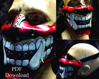 Leather Oni Kabuki mask with mouth open PDF Template  - Digital Leather Pattern