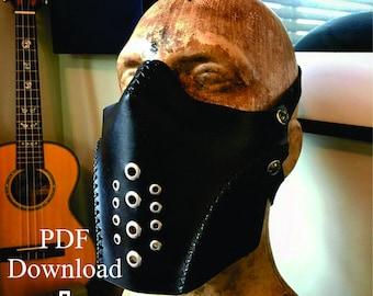 Leather breather mask PDF pattern Template  - Digital Leather Pattern - Skull half mask