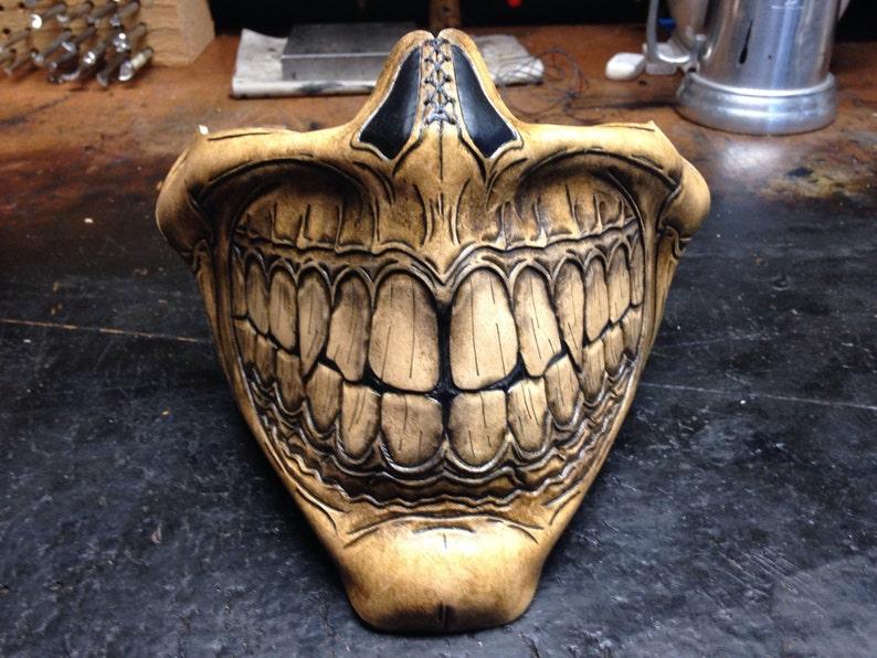 Steampunk Biker Skull Grin Half Mask Etsy