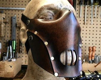Leather Hannibal mask. Biker mask face shield by skinznhydez steampunk armoury
