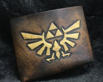Leather Zelda Triforce Hyrule Wallet - Brown leather gamer wallet