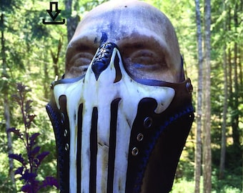 Leather Punisher skull mask PDF Template  - Digital Leather half mask Pattern