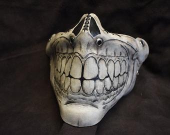White Leather skull Grin Half  Mask