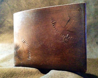 Geared steampunk leather wallet hand made wallet stamped with clock gears