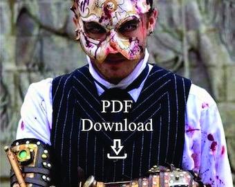 Leather rabbit splicer mask PDF Template  - Digital Leather broken Rabbit splicer mask Pattern from Bioshock