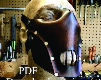 Leather hannibal mask PDF pattern Template  - Digital Leather Pattern - Skull half mask