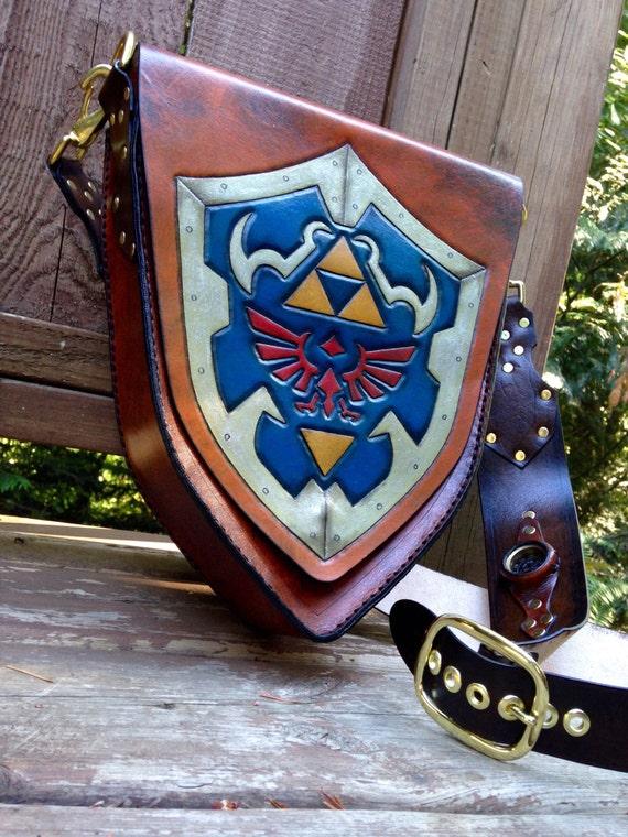 a bolso de de Zelda mano Etsy hecho cuero de Bolso hyliano escudo t7wqx8v