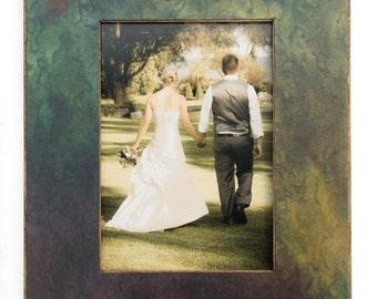 5x7 Wood Frame, Art Photo Table Top Easel Handmade Paper, Purple Green Frame, Masculine Decor