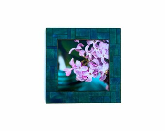 Table Top Easel Frame 7x7 Photo Art Handmade Paper Blue Green Geometric Mosaic Gift for Him Square Frame Mosaic Tile