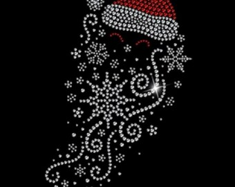 Santa Tee Women's Christmas Shirt Sizes Small thru 3XL Plus Sizes Too! Rhinestone FREE SHIPPING New Short Sleeve T Shirt