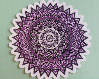 """Zen purple star mandala 4"""" round die-cut  sticker"""