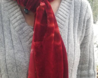 Deep red tie-dyed silk velvet scarf