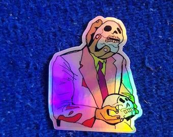 Barfing Skullz Guy Holographic Sticker