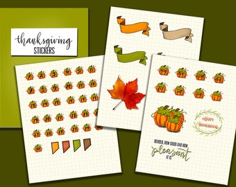 Fall Stickers for digital planners in PNG format