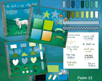 Psalm 23 stickers for GoodNotes Planners and Digital Scrapbooks