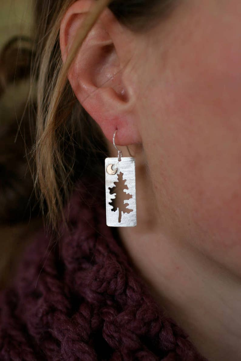 Half Moon Pine Rectangular Earrings image 0